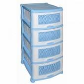 Комод пластиковый 4-х секционный Плетенка голубой
