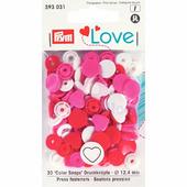 "Кнопки Color Snaps ""Сердце"" пластик 30 шт разноцветные Prym Love 393031"
