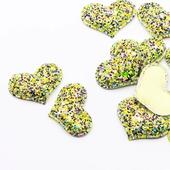 Патч с блестками Сердце 28х38мм, цвет салатовый