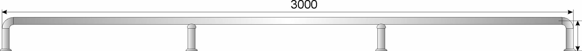 Отбойник для тележек нерж. сварной D38мм, h179мм, L3000мм, h оси трубы 160мм
