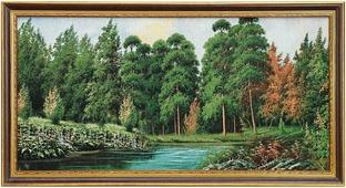 Гобелен Бирюзовое озеро в лесу, 3847280, 45 х 85 см