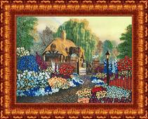 """Набор для вышивания лентами Каролинка """"Цветы у дома"""", 25,5 х 35 см"""