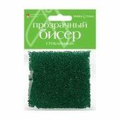 Бисер прозрачный, стеклянный, 2 мм, 60 грамм (зеленый №6)