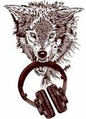 Наклейка на авто Волк с наушниками 10 см х 14 см
