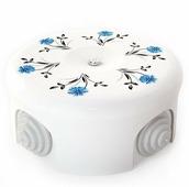 Распаячная коробка большая D90 белый с узором васильки 33518 Lindas