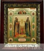 Петр и Феврония (19х22), темный киот (Иконы святых)
