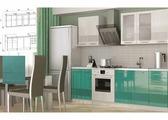 Кухнонный гарнитур Олива 3D белый, бирюза 1,8 м
