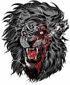 Наклейка на авто Демонический лев 10 см х 12 см