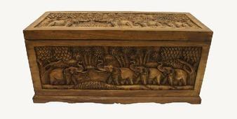 """Сундук деревянный резной """"Слоны"""", h=33см 21-10-6500S"""