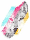 Наклейка на авто Разноцветный волк 10 см х 13 см