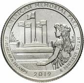 """Монета США 1/4 доллара (квотер, 25 центов) 2019 P """"Национальные парки - Мемориал парк (47-й парк)"""" H130801"""