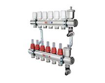 VALTEC Коллекторный блок из нержавеющей стали со встроенными расходомерами, на 4 выхода (арт. VTc.596.EMNX.0604) для теплого пола