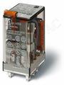 Реле с 4 перекидными контактами (~230B AC) 7А Блокируемая кнопка проверки + мех.индикатор Finder, 553482300040