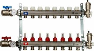 Коллектор Stout, в сборе с расходомерами, SMS-0907-000009, серый, 9 выходов