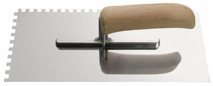 Гладилка нерж деревянная ручка 28*13см зуб 10*10мм