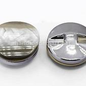 Пуговица Круглая, Акриловая, Имитация Перламутра, 30×14 мм, Радужный, 1 шт
