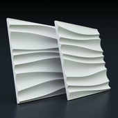 Стеновая гипсовая 3D панель – Волна двойная, 500х500mm