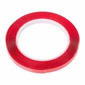Скотч двухсторонний Rexant, 9 мм х 5 м, прозрачный акрил, защитная пленка красного цвета {09-6509}
