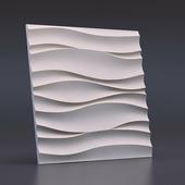Стеновая гипсовая 3D панель – Волна Атлантика, 500х500mm