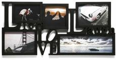 Фоторамка Жизнь, любовь, смех, на 5 фото, 3983974, черный, 64,5 х 31,5 х 2 см