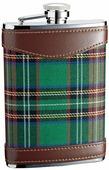 Подарочные фляги Фляга 1709YCG S.Quire 0,27 л, сталь + кожа, вставка из ткани в зелёную клетку