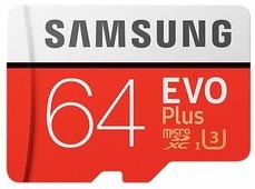 Карта памяти Samsung EVO+ microSDXC 64GB + адаптер [MB-MC64GA]