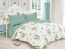 Комплект постельного белья Cleo Satin de' Luxe Маратея, 41/534-SK, белый, зеленый, семейный, наволочки 50х70, 70х70
