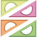 Треугольник 30°, 16см, прозрачный флуоресцентный, 4 цвета, с транспортиром Стамм ТК01