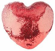 Наволочка с пайетками под сублимацию, в форме сердца 39x44 см, Красный/Белый