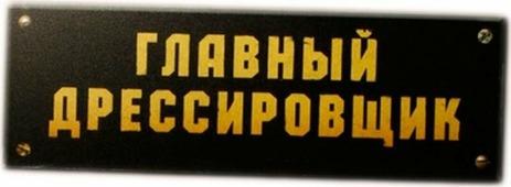 """Сувенирная табличка Бюро находок """"Главный дрессировщик"""", TK01, черный"""