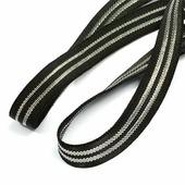 Лента эластичная, цвет черный с серебряными полосами