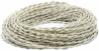 Ретро кабель витой электрический (50м) 2*2.5, бежевый шелк, ПРВ2250-БЖШ Panorama