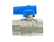 """Thermotech Шаровый клапан 3/4"""", прямой, синяя ручка (арт. 75901) для теплого пола"""