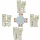 Коннектор для светодиодной ленты Ecola LED strip connector комплект X гибкая соед. плата + 4 зажимных разъема 2-х конт. 8 mm SC28UXESB
