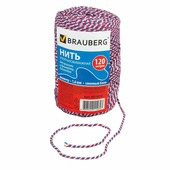 "Нить BRAUBERG х/б для прошивки документов, диаметр 1,6 мм, длина 120 м, сменный блок, ""Триколор"""