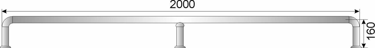 Отбойник для тележек нерж. сварной D38мм, h179мм, L2000мм, h оси трубы 160мм