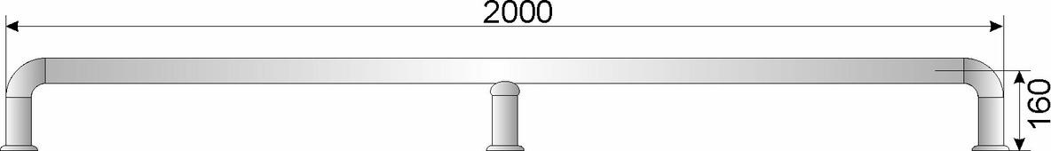 Отбойник для тележек нерж. сварной D50,8мм, h185мм, L2000мм