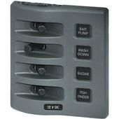 Панель выключателей водонепроницаемая Blue Sea WeatherDeck 4305 4 автоматов 99 x 109 мм