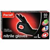 """Перчатки нитриловые Paclan """"Practi"""", размер L, черные, 50 штук"""