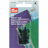 Крючки и петли латунь 1 малые 12 шт. черный Prym 263849