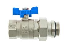 """Thermotech Шаровой клапан 1"""", прямой с накидной гайкой и опорным кольцом, синяя ручка (арт. 53201) для теплого пола"""