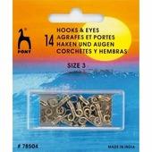 Крючки для одежды латунные №0 7 мм 14шт никель Pony 78501