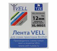 Лента Vell VL-M931 (Brother TZE-M931, 12 мм, черный на металлизированном) для PT 1010/1280/D200/H105/E100/ D600/E300/270...