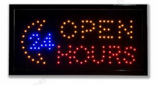 Светодиодная табличка «Open 24 hours» (СТ013)