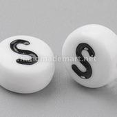 """Акриловая Буква """"S"""", Круглая плоская, 7×4 мм, Белая"""