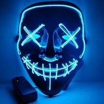Неоновая маска для праздника Baziator Судная ночь The purge синяя