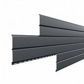 Сайдинг наружный металлический МеталлПрофиль Lбрус Серый графит 3м (Purman, 0,5мм, глянец.)
