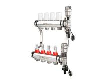 VALTEC Коллекторный блок из нержавеющей стали со встроенными расходомерами, на 4 выхода (арт. VTc.589.EMNX.0604) для теплого пола