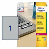 Серебристые полиэстерные этикетки Avery Zweckform 210x297 мм (1 шт. на листе A4, 20 листов) {L6013-20}