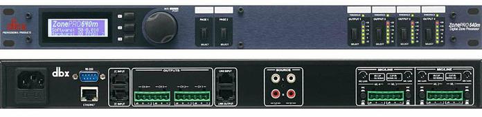 dbx 640m аудио процессор для многозонных систем. 6 входов - 4 балансных мик/лин Phoenix, 2 RCA, 4 балансных Phoenix выхода, управление - ЖК дисплей на лицевой панели, GUI интерфейс - с компьютера. 2 порта для подключения контроллеров ZC (до 12 шт)